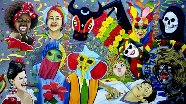 Encuentro de Carnaval Oleo sobre lienzo 140 x 80 cm